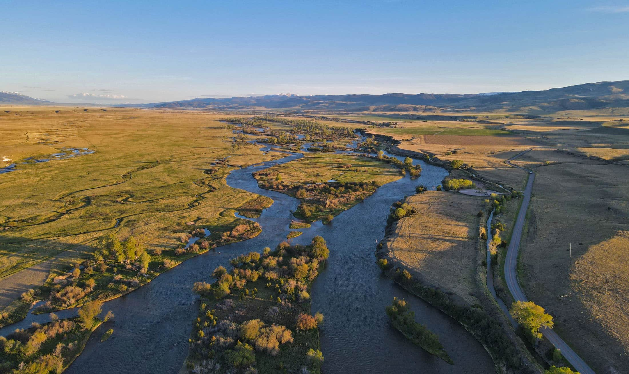 Aerial picture of the Madison River access map area.