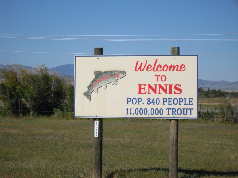 Ennis MT welcome sign.