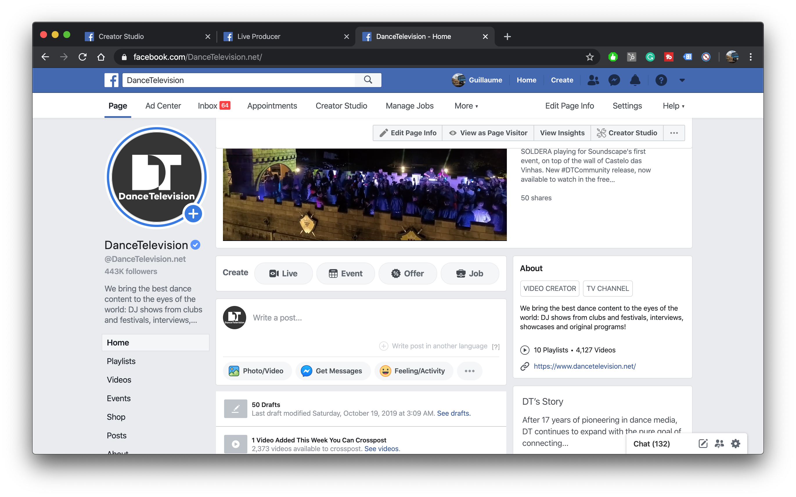 LIVE streaming from Facebook Page wall