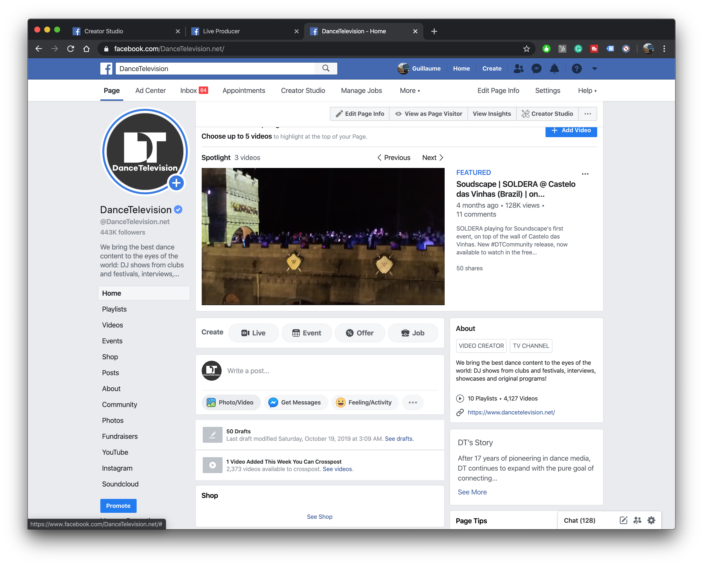 Premiere video from your Facebook Page wall