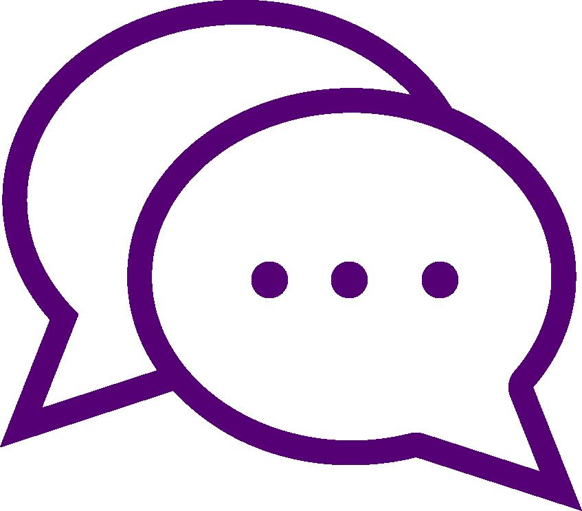 Two speech bubbles logo