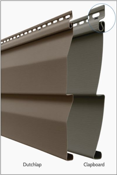 Horizontal vinyl siding panel's projection of Dutchlap and Clapboard