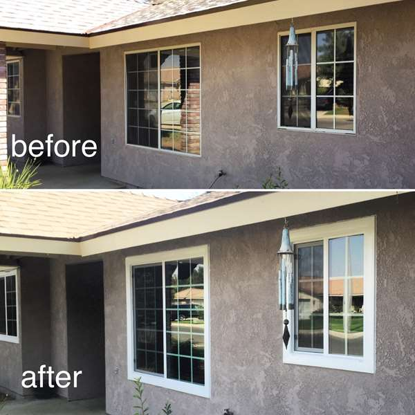 Before and after comparison. old windows replaced with new double pane , energy star white vinyl windows.