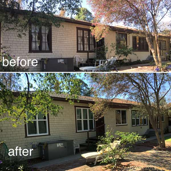 Before and After comparison. wooden frame antique windows replaced with new vinyl frame energy star windows.