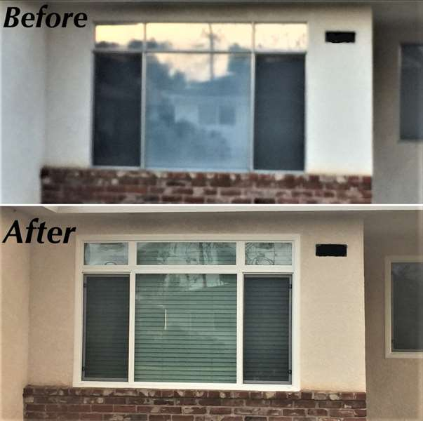 Front house window before and after replacement.
