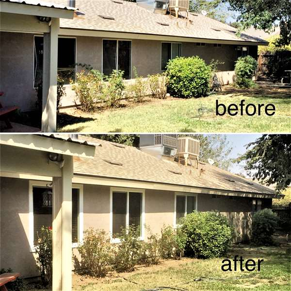 Before and after pic of Van Buren home, old windows replace with new vinyl windows.