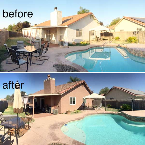Before and after comparison. Exterior paint and new energy efficient windows installed.