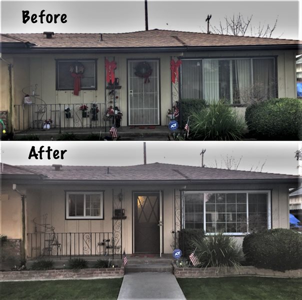 Older home before and after windows replaced.