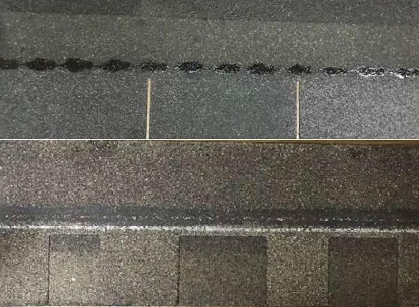 Three tab shingle strip compared to architectural shingle strip.