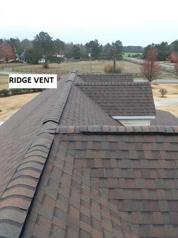 Ventilation installed on asphalt roof ridges.