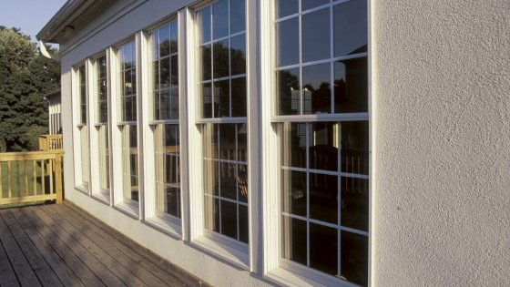 Double pane windows with colonial grid.