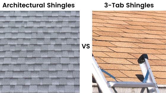 Architectural shingle vs three tab shingles comparison.