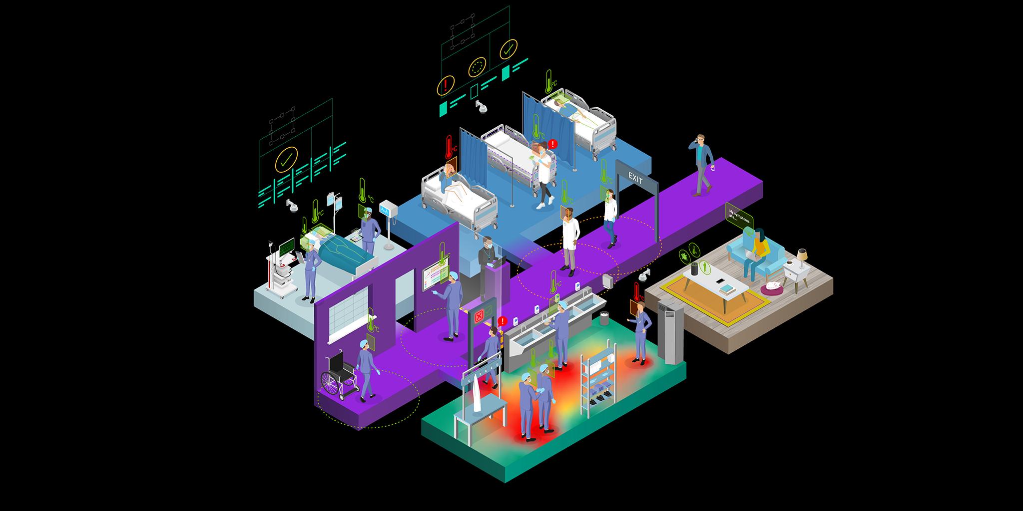NVIDIA Clara Guardian Smart Hospital Illustration