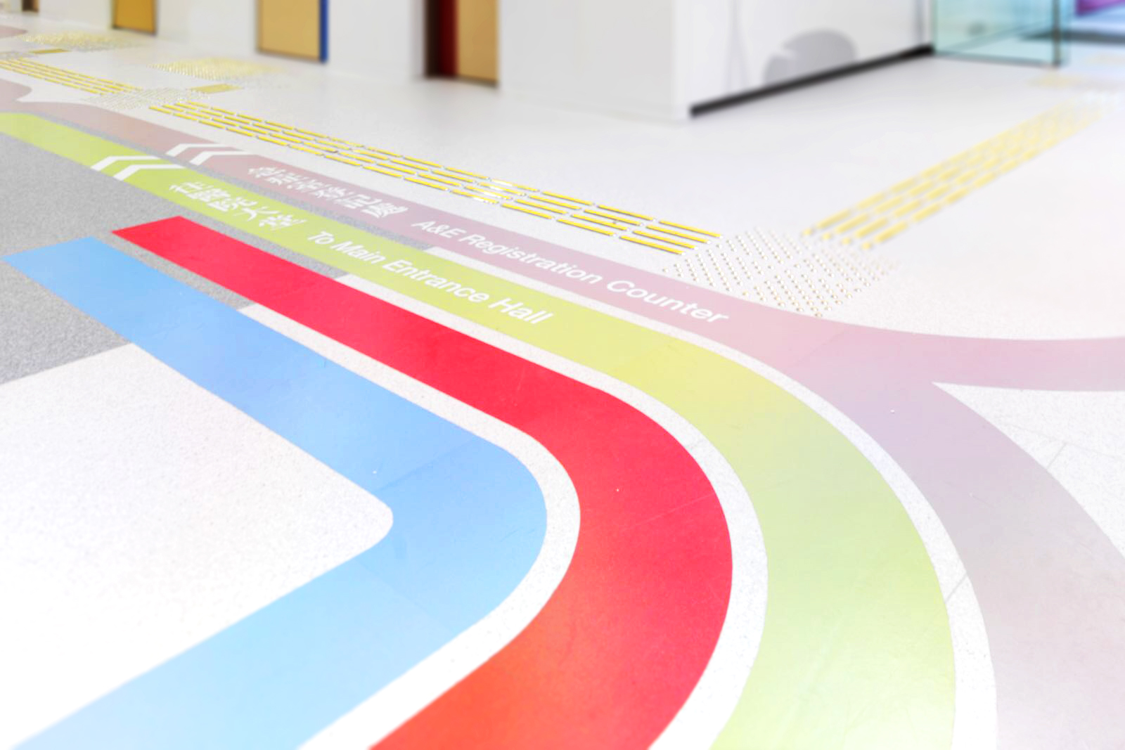 Colored guide lines on a hospital floor.