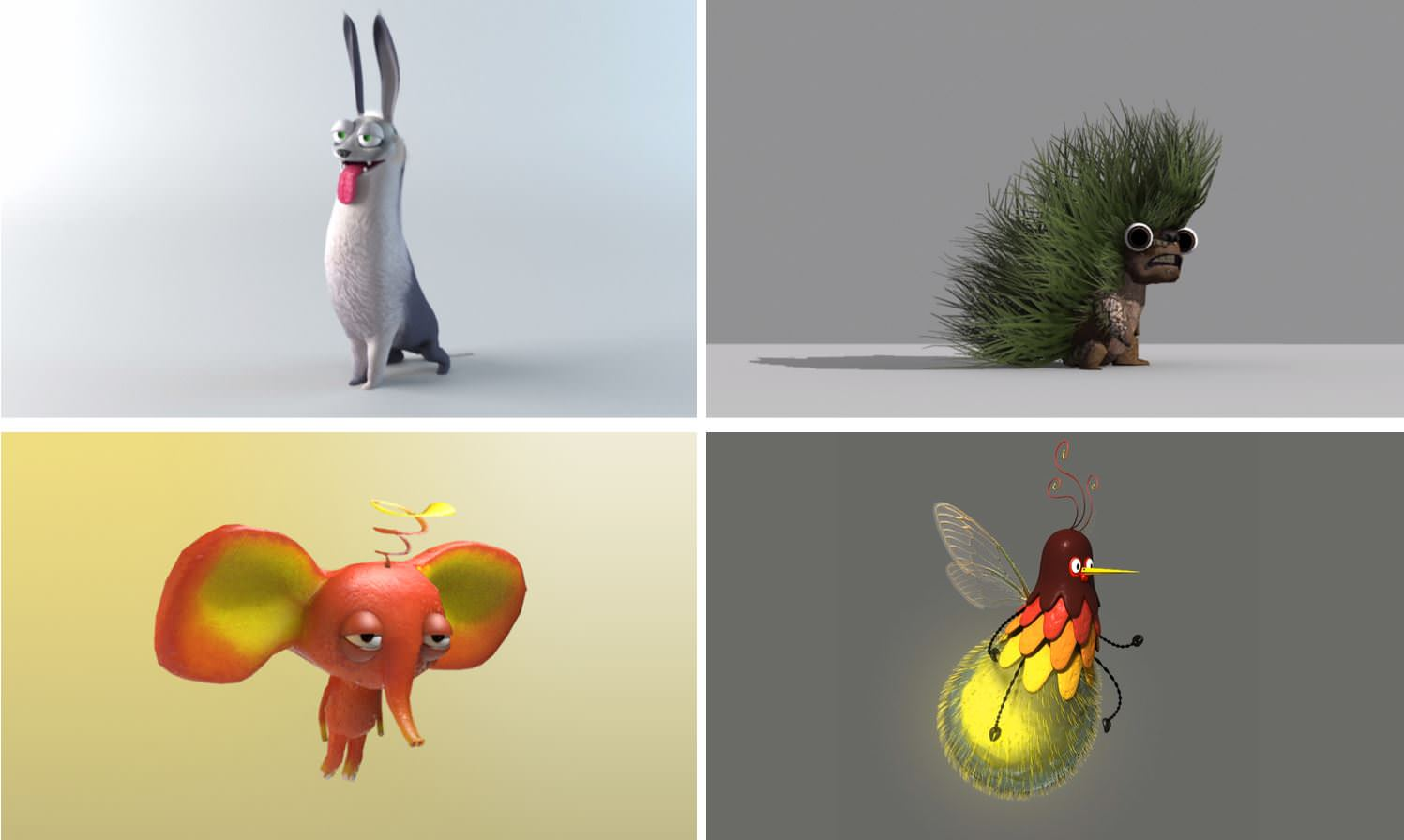 Various 3D characters in Ouva interactive experience