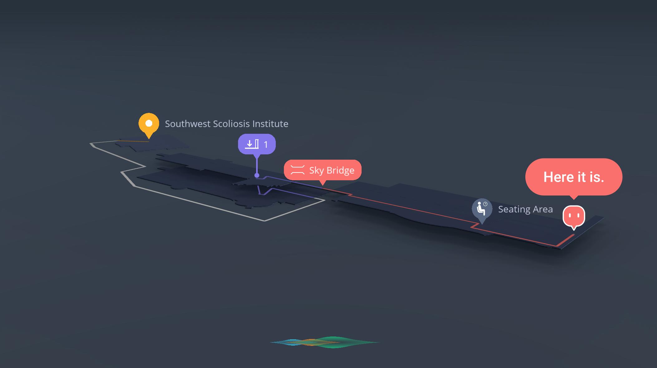 Interactive indoor wayfinding route