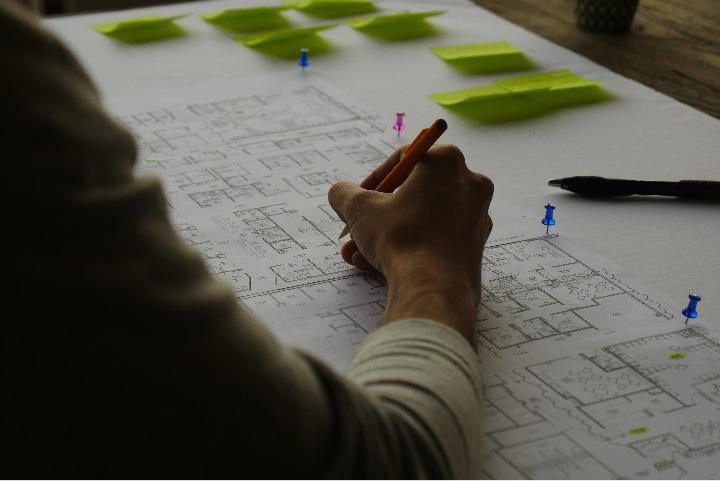 Wayfinding expert working on indoor map design.