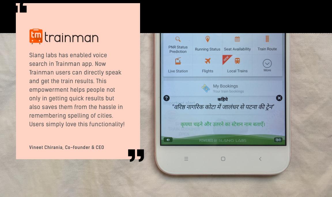 Slang Labs Testimonial by Trainman CEO