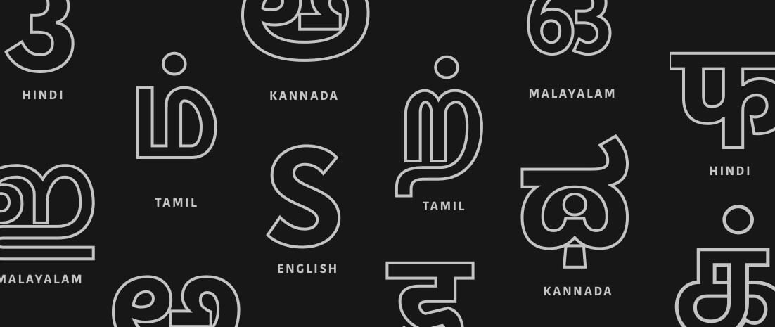 Many different letters showing Indic language scripts