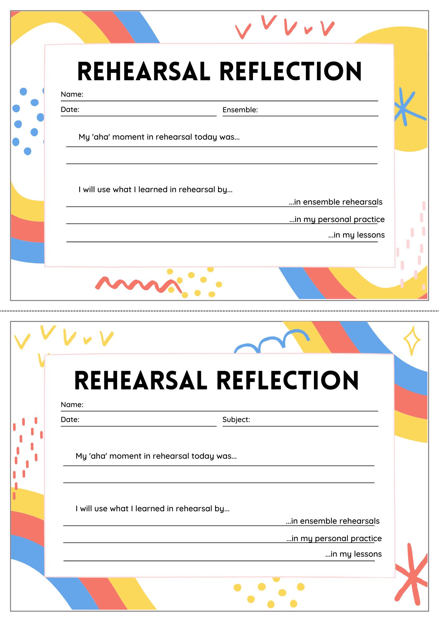 Rehearsal Reflection example
