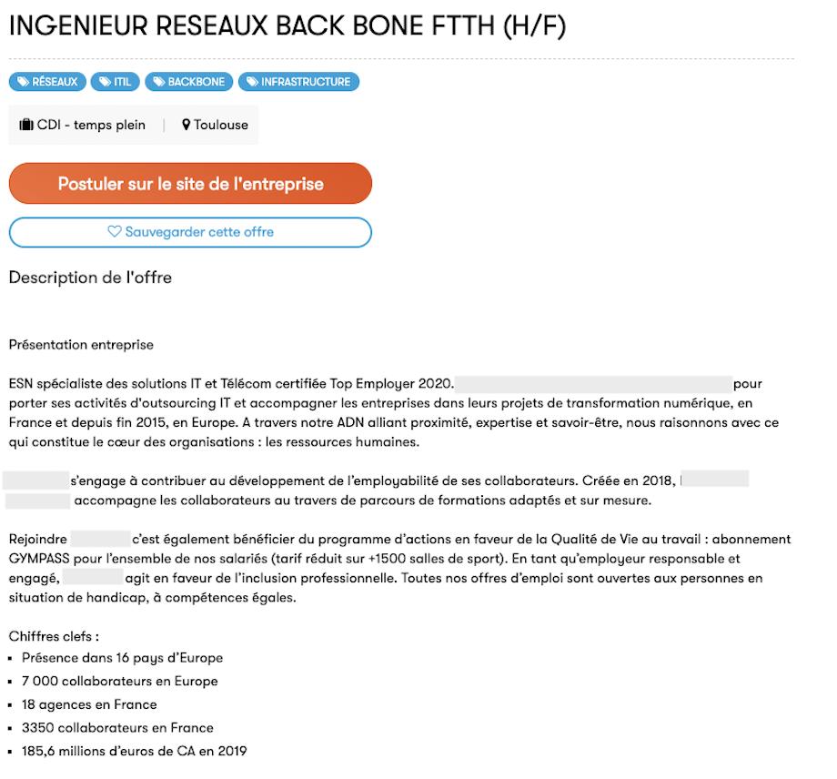 Capture d'écran d'une offre sur lesjeudis.com