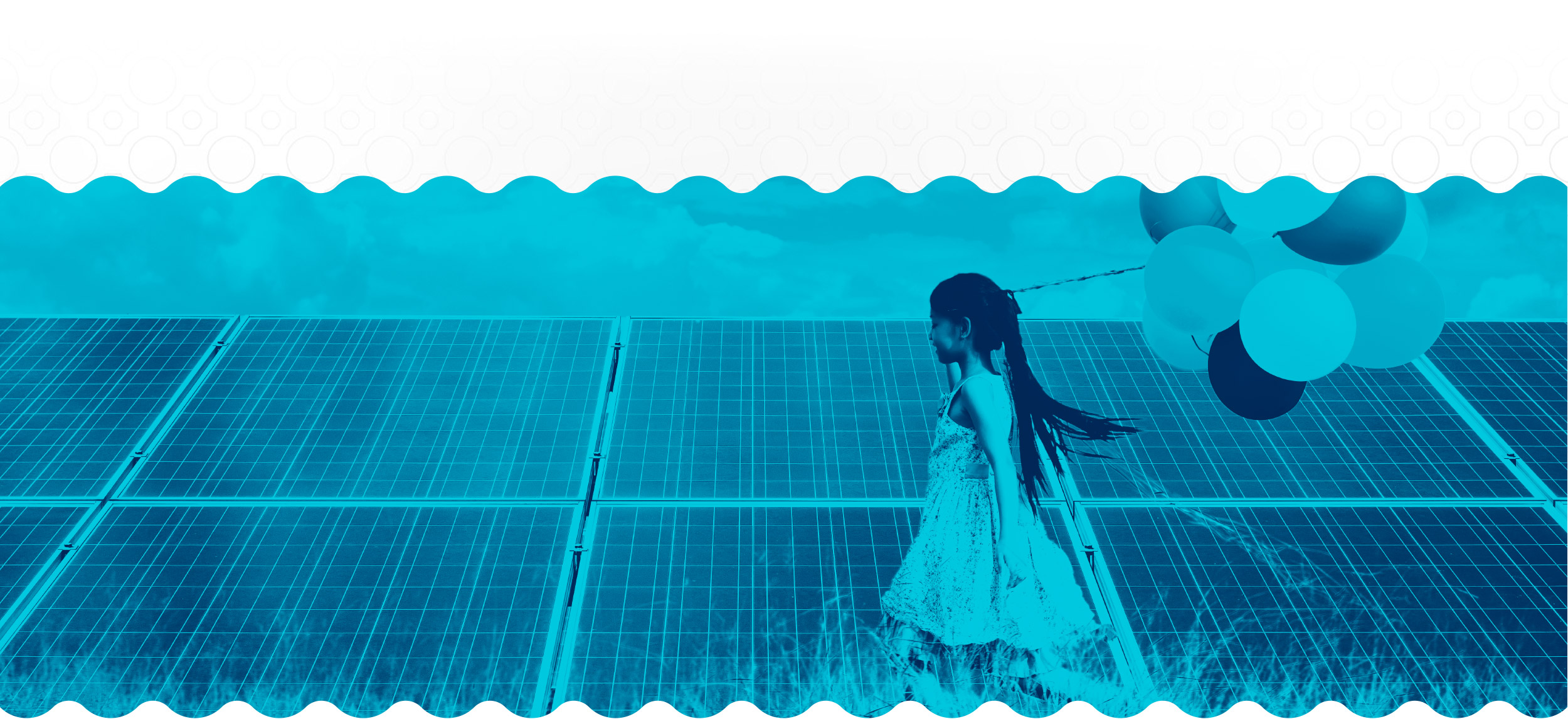 Power your future banner: A girl with balloons walking near solar panels