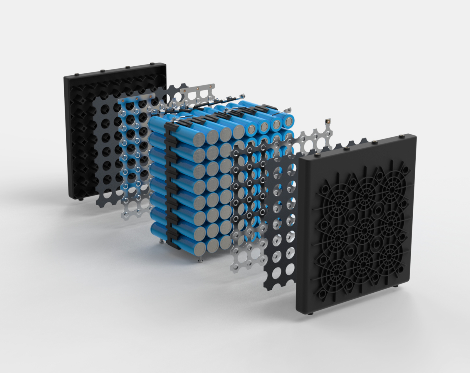 explode animation of the Essential battery core: easy to assemble and service
