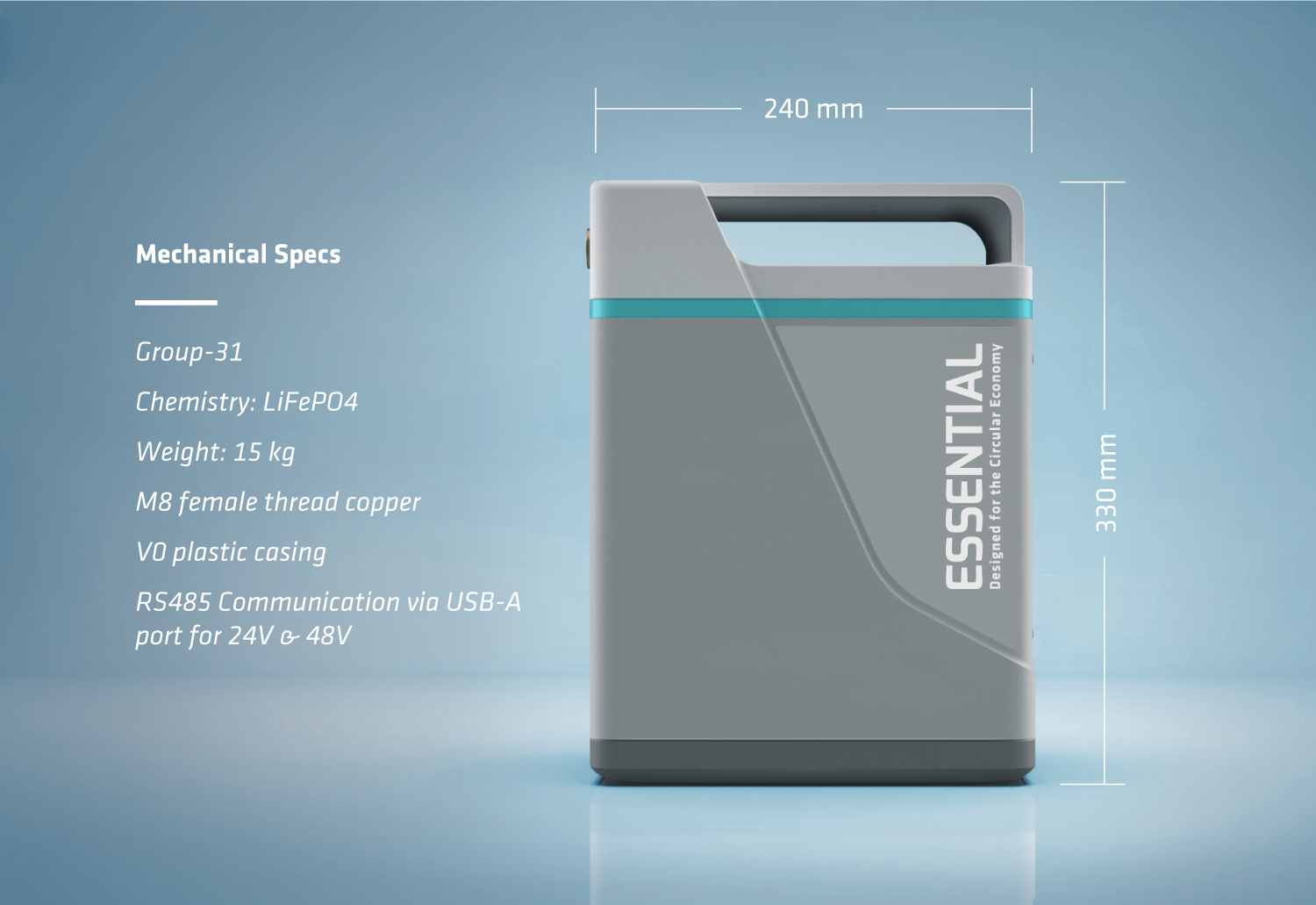 The Essential is a type 31 lithium-ion battery 240x330mm