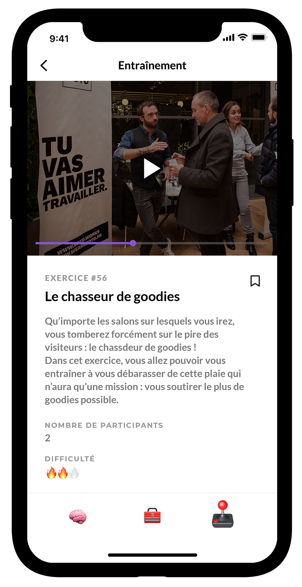 Mockup de la partie Practice de l'application Ambassadr