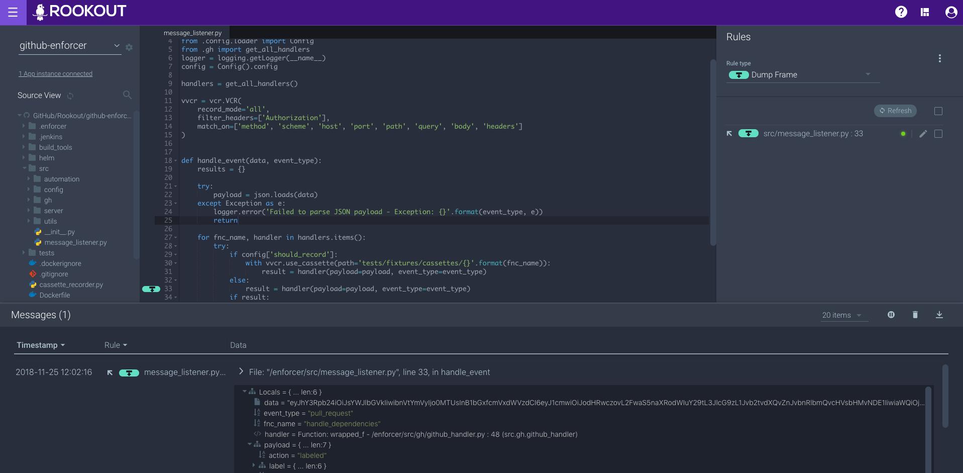 Rookout GitHub enforcer debugging