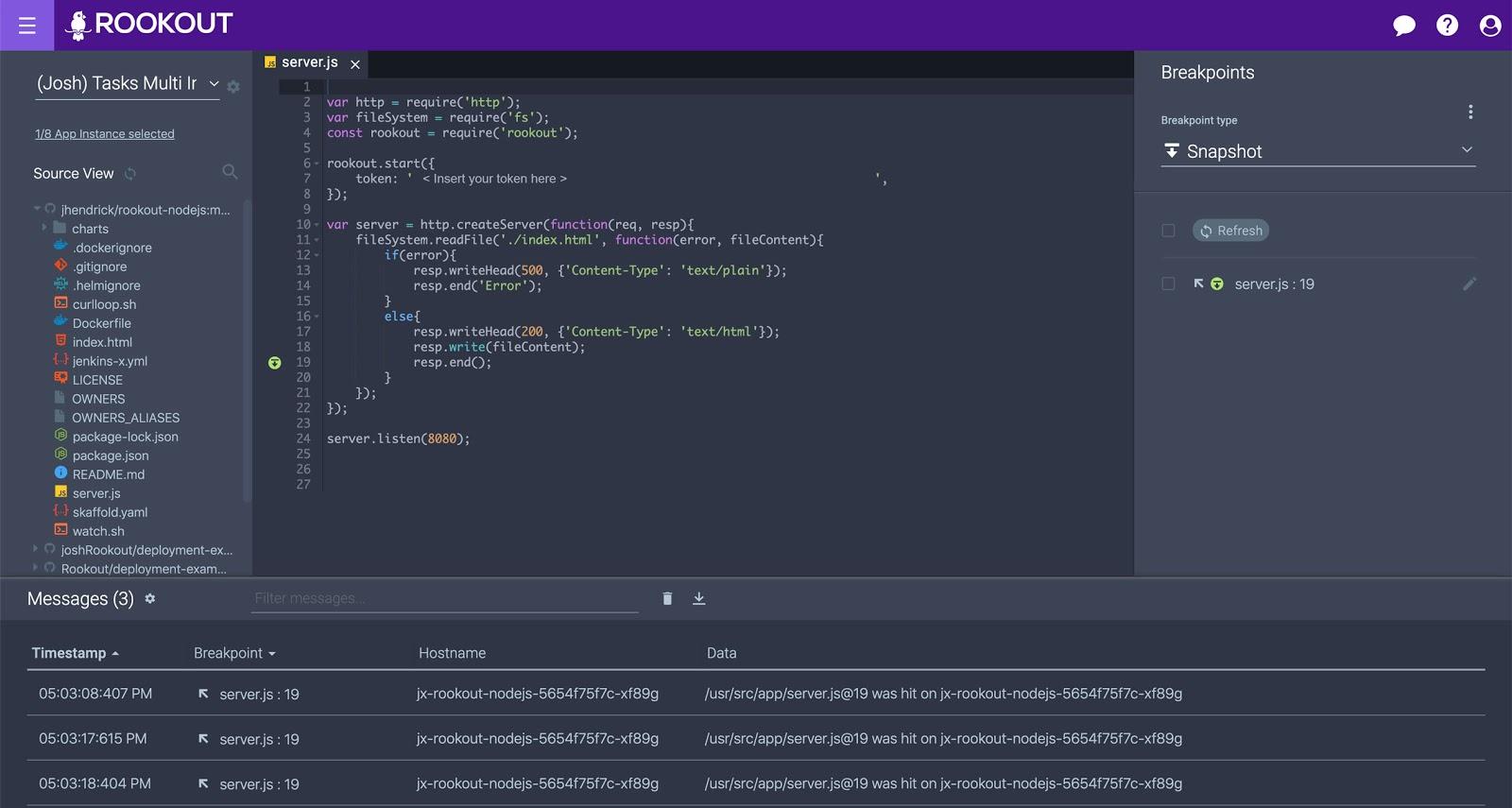 debug data and send it to the logging platform