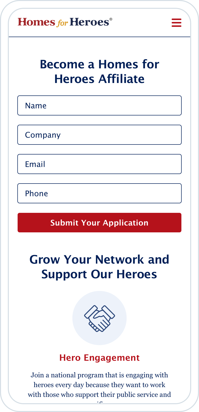 Homes for Heroes Mobile UI