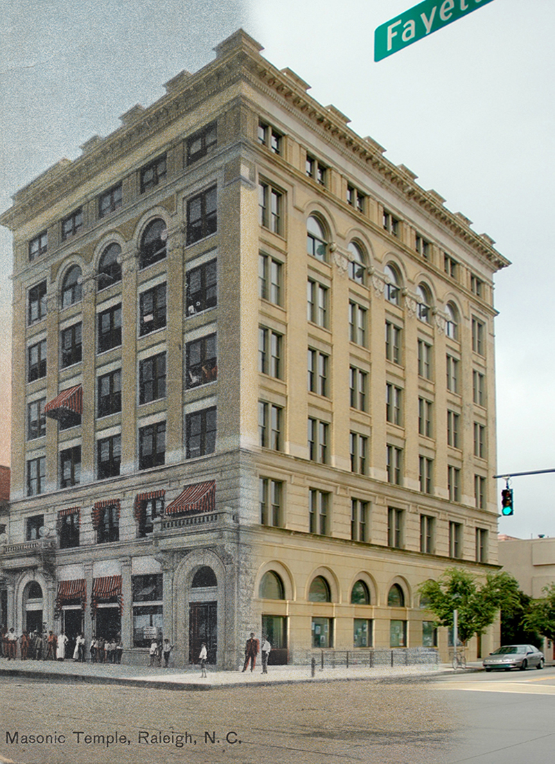 Historic Masonic Temple Building Then and Now