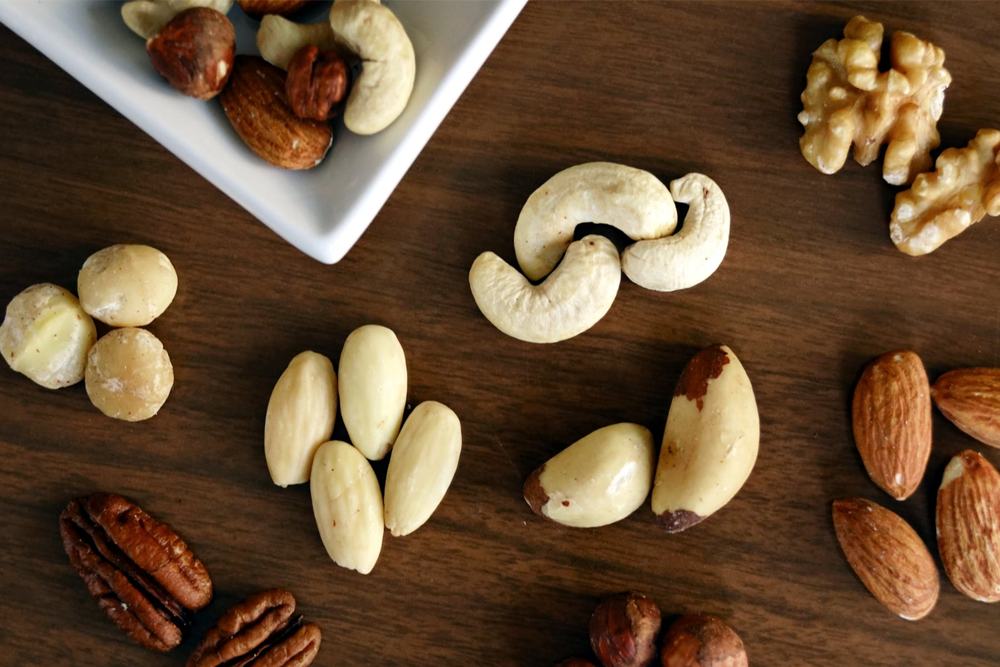 Image of various nuts on a table