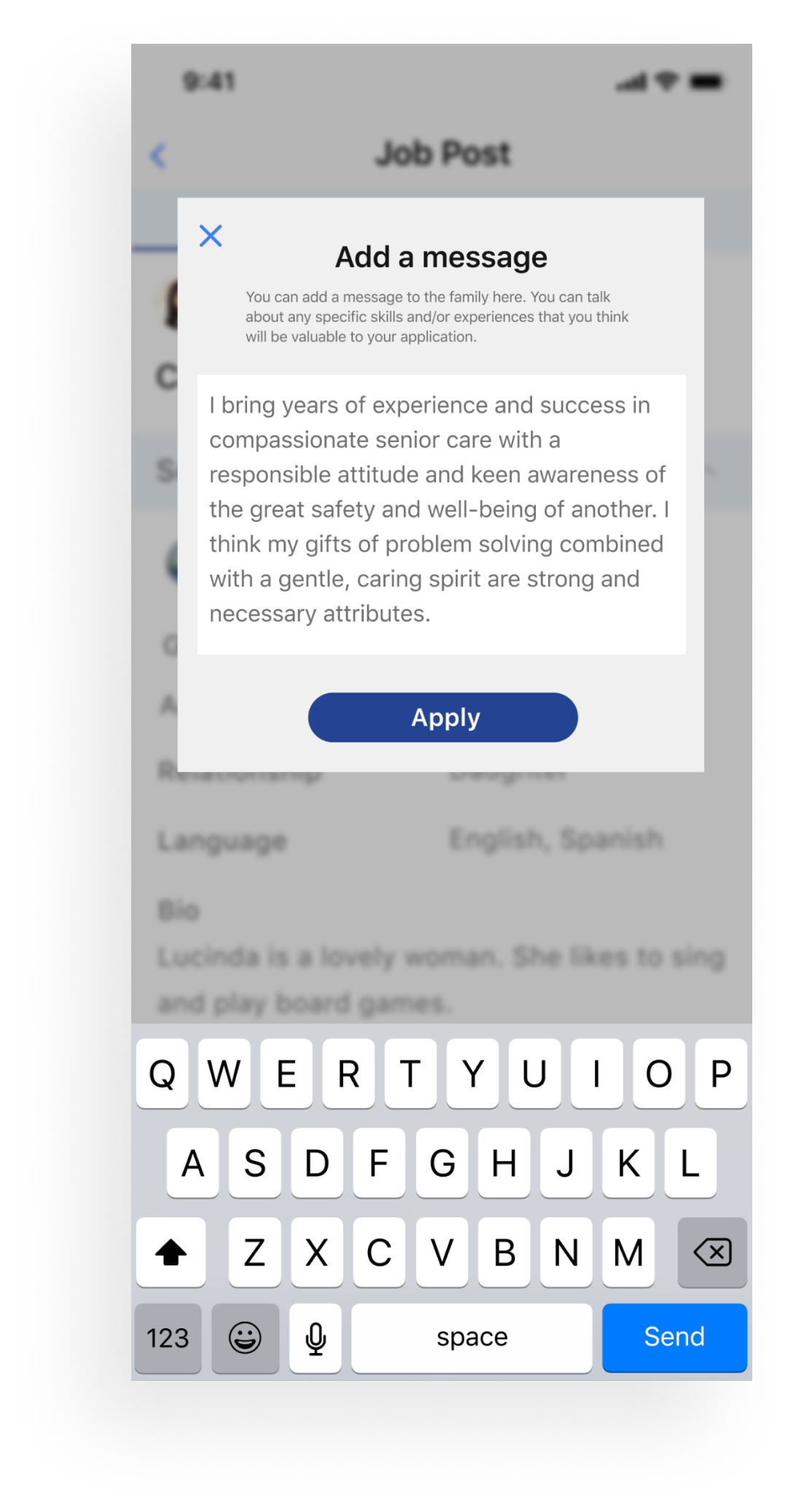 Cover letter screen