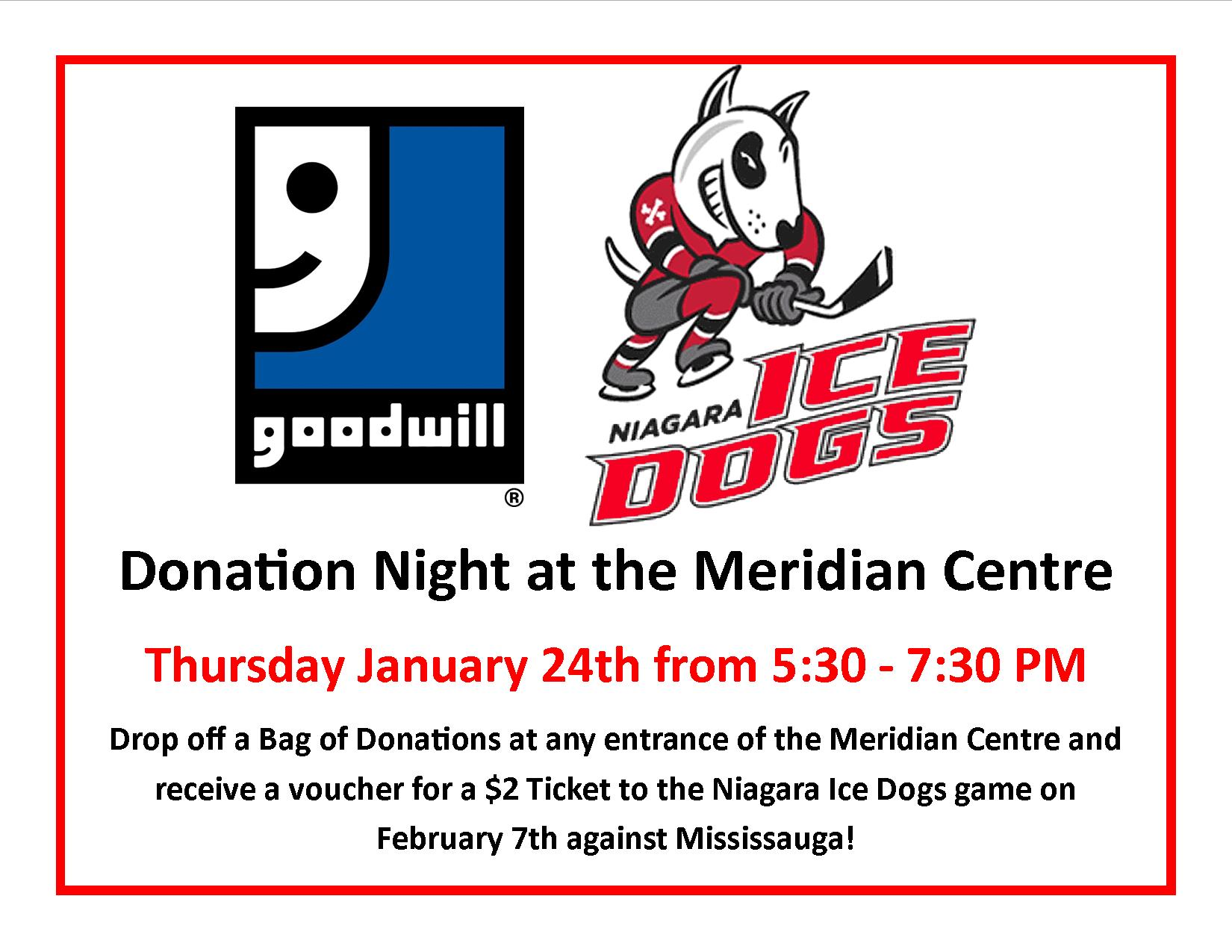 Donation Night at the Niagara Ice Dogs!
