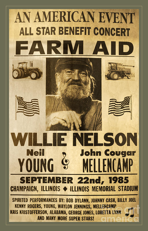 The original poster for the 1985 Farm Aid event