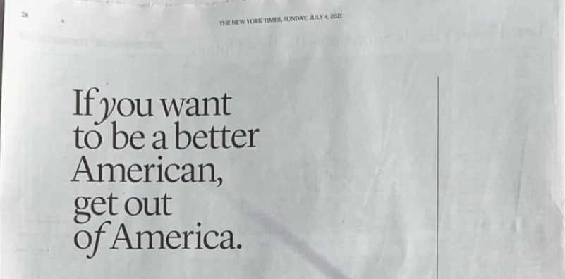 Pictured: Away ad from Sunday, July 4th, 2021 edition of the New York Times.