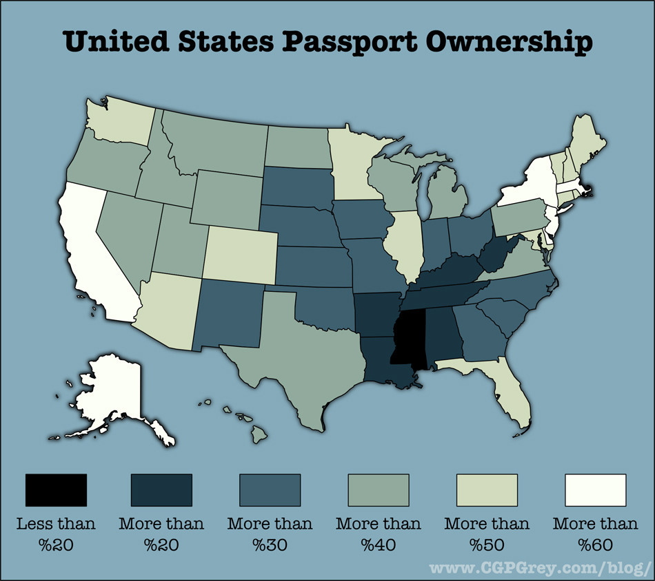 Figure 1: United States Passport Ownership by State. (2017, via HuffPost, CGP Grey)