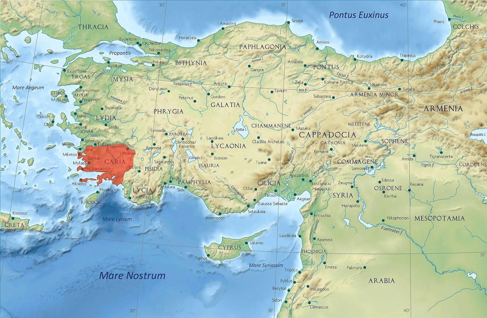 Antik Karya Uygarlığı harita