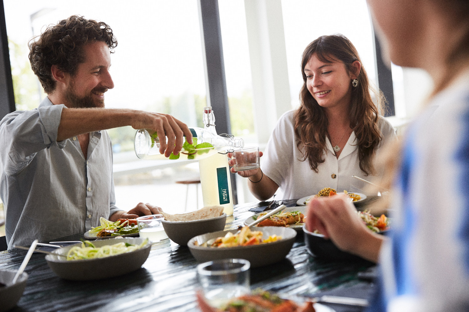 A picture of people sharing food