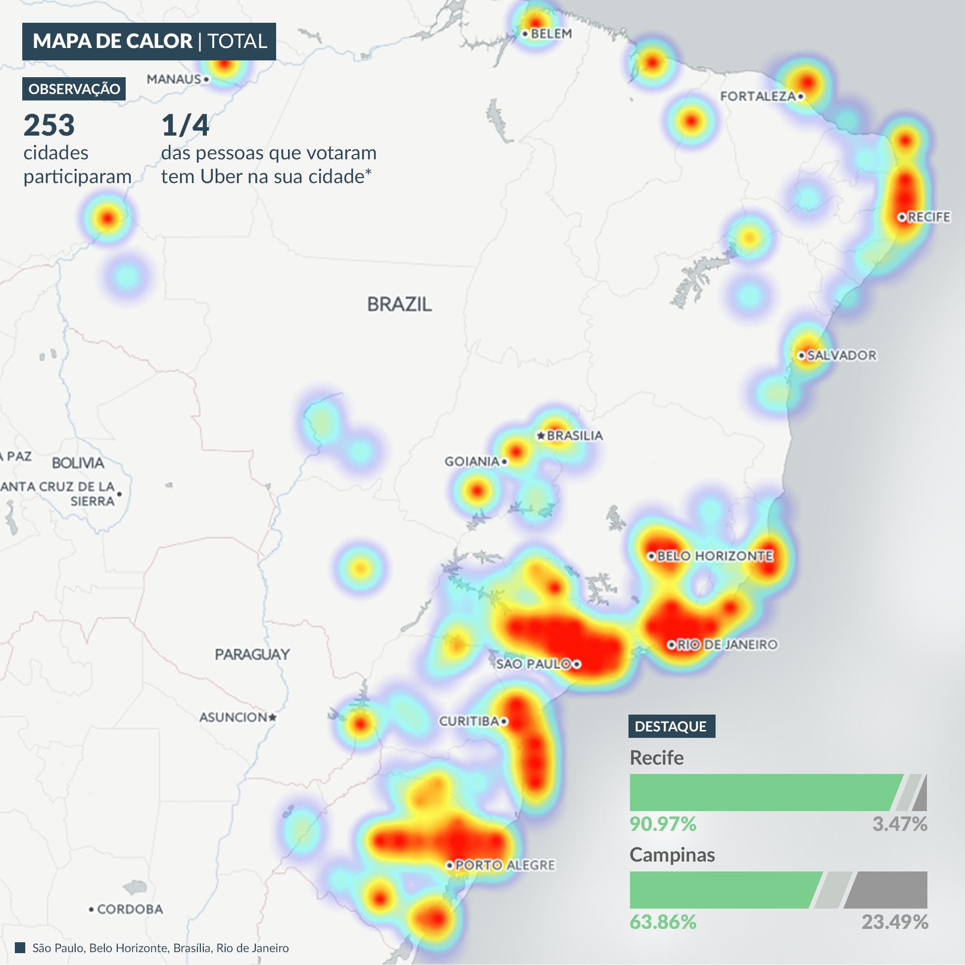 Mapa de locais onde os respondentes moram