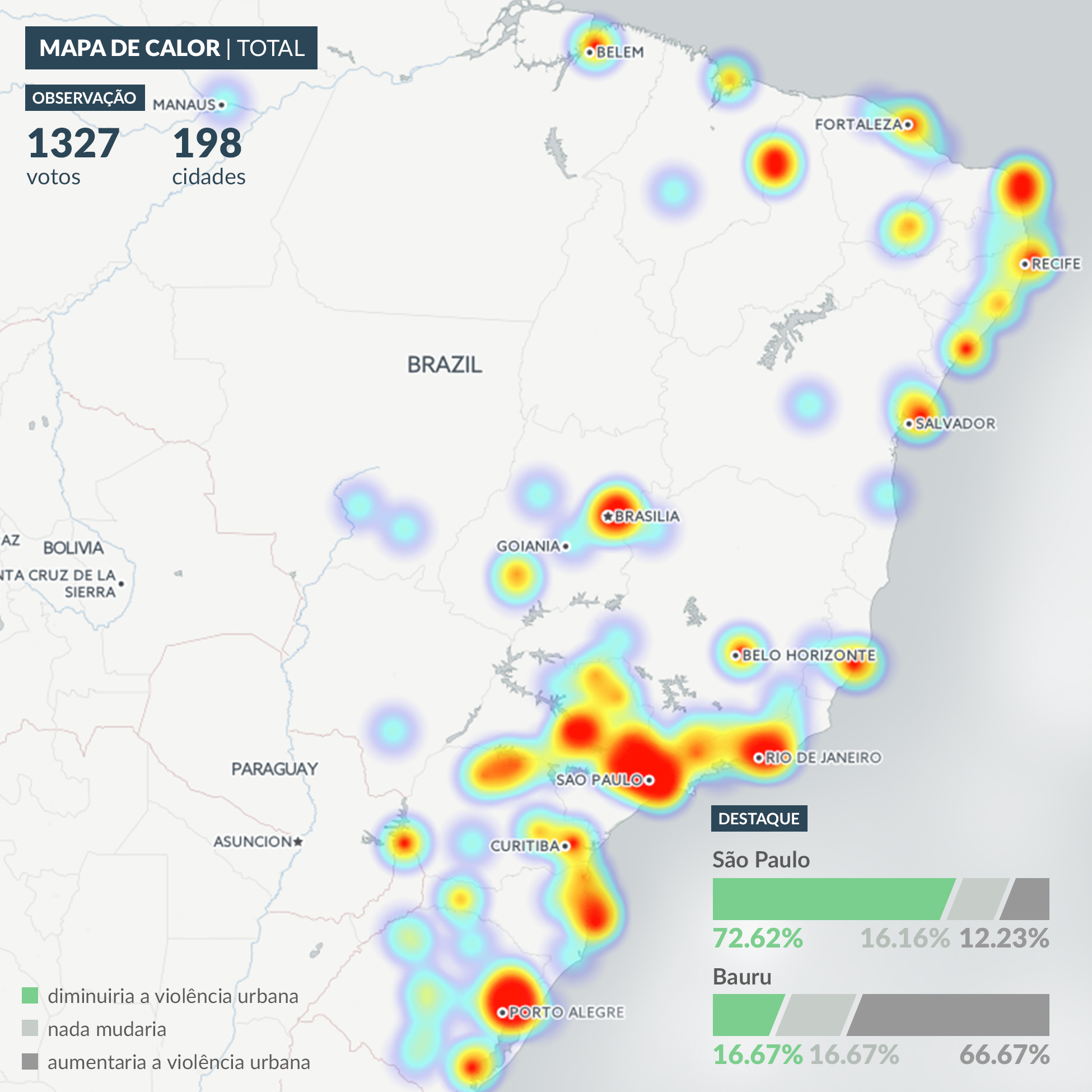 Mapa que mostra de onde os respondentes do  infográfico sobre a regulamentação da maconha são