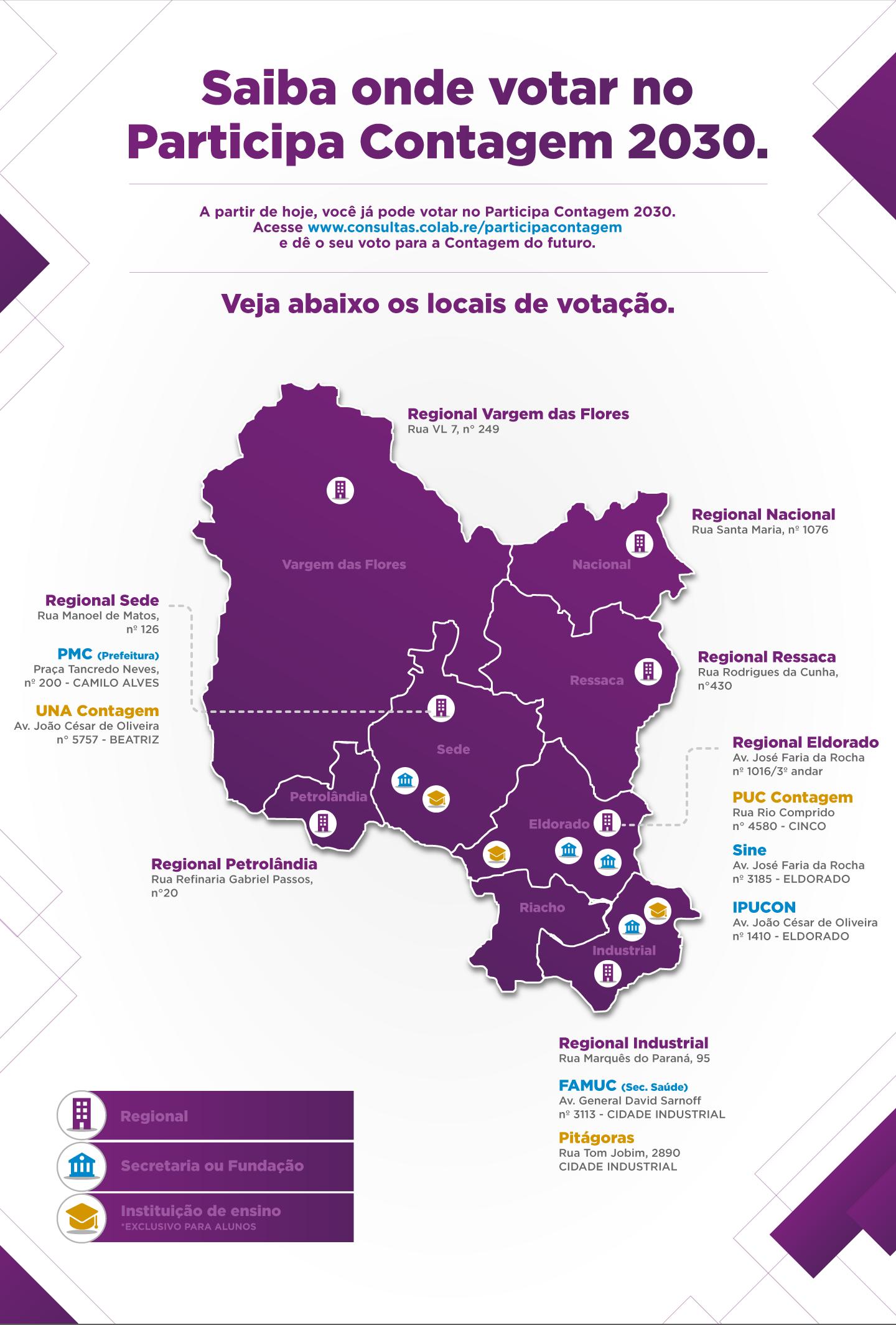 Mapa com os locais de votação do Participa Contagem 2030