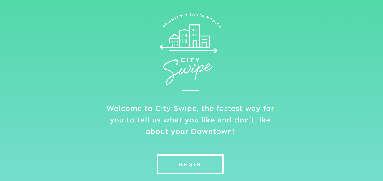 Tela de boas-vindas do City Swipe