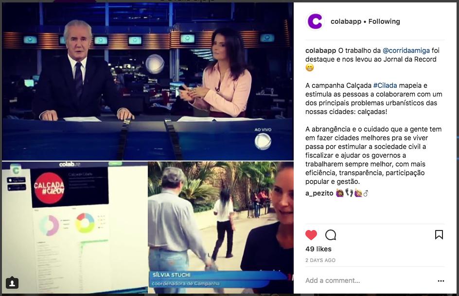 Print do instagram do Colab com a matéria da Record onde o projeto saiu