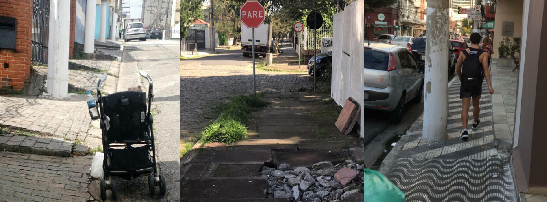 Montagem que mostra três fotos tiradas em calçadas irregulares