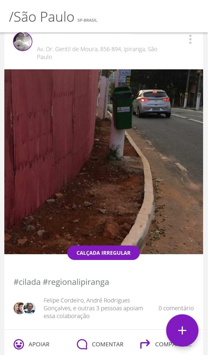 Tela do aplicativo colab com uma denúncia de calçada irregular