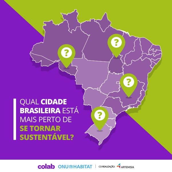 """Mapa do Brasil com o texto """"Qual cidade brasileira está mais perto de se tornar sustentável?"""""""