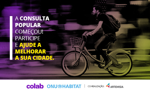 """Pessoa andando de bicleta e a frase """"a consulta popular começou! Participe!"""""""